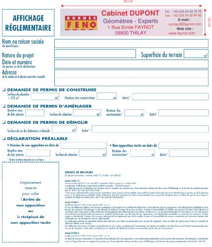 Panneau d 39 information de d claration pr alable sur bornes - Panneau affichage declaration prealable ...